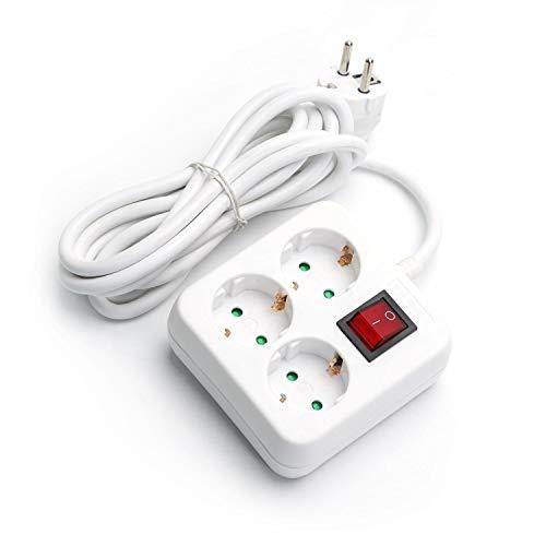 Aigostar - Regleta con 3 enchufes y 3 metros con interruptor