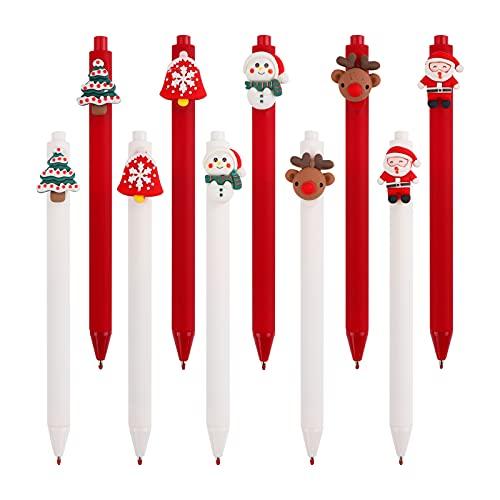10 piezas Bolígrafo de tinta de gel Rollerball de Navidad,0,5 mm Bolígrafos Retráctiles de Gel Punta bolígrafo negro Fineliner Bolígrafo Rollerball lindo de dibujos animados de Navidad