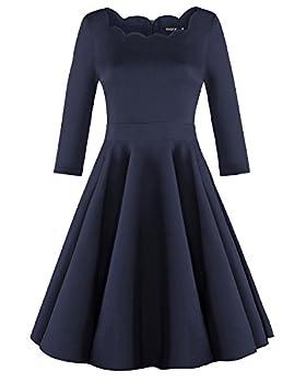 OUGES Womens 1950s Scalloped Neck Vintage Cocktail Dress,Navy,Medium