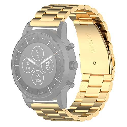 Peishi 22 mm de Acero Correa de muñeca Watch Band for el fósil híbrido SmartWatch HR, Hombre Gen 4 Explorist HR/Hombre Deporte (Negro) Electrónica (Color : Gold)
