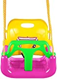 KAKIBLIN 3 in 1 Kids Swing Seat, Baby Swing Chair Secure Swing Seat Detachable Swing Seat High Back Swing Set for Playground Indoor Outdoor, Pink