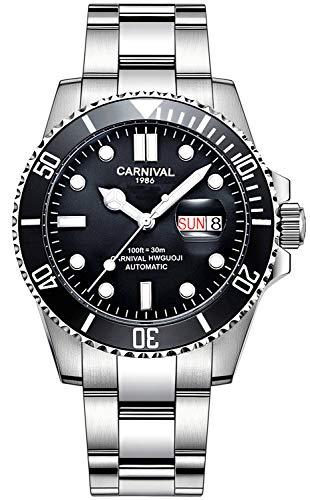 CARNIVAL Reloj automático de Acero Inoxidable con Bisel Giratorio para Hombre y Cristal de Zafiro Resistente al Agua Negro (Esfera Negra)