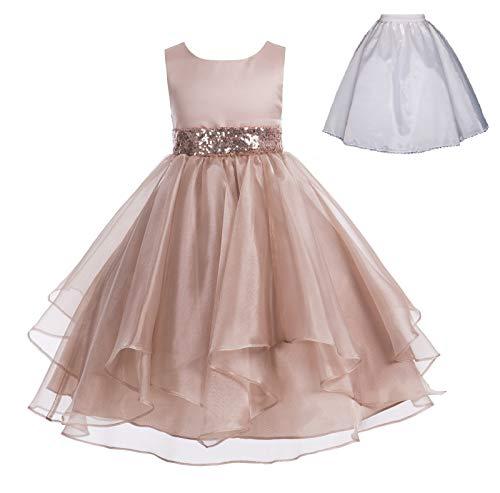 ekidsbridal Wedding Ruffles Organza Flower Girl Dress Sequin Toddler Pageant Free Petticoat 012s Rose Gold