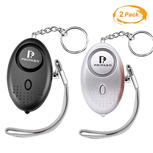PRIPASO 130Db Emergency Personal Security Safety Alarms Self-Defense Electronic Device LED Flashlight for Woman, Children, Adventurer, as a Bag Decoration (Black Silver)