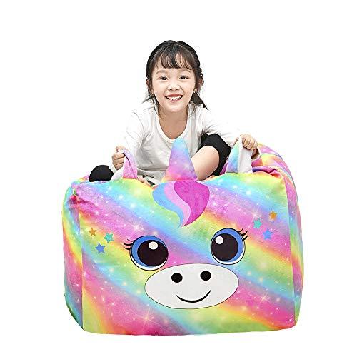 Play Tailor Funda para silla de puf con diseño de unicornio para niños, tamaño grande, suave para organizadores y decoración de dormitorio de niñas, (sin relleno)