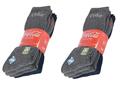 Coca-Cola 10 Paar Herren/Damen Sportsocken mit Sanitized Ausstattung - wirksam gegen Geruch und Bakterien, wahlweise in Schwarz oder Blau/Grau in 35-40/41-45/46-50 (46-50, 10 Blau/Grau)