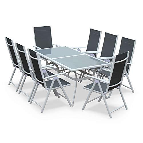 Alice's Garden Comedor de Jardin, Conjunto de Mesa y sillas de Aluminio y textileno - Blanco/Gris -...