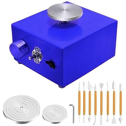 SISHUINIANHUA Mini-Plattenspieler Töpferscheiben, Keramikmaschine Elektrotöpfe-Rad-DIY-Clay-Werkzeug mit Tablett für keramische Arbeit