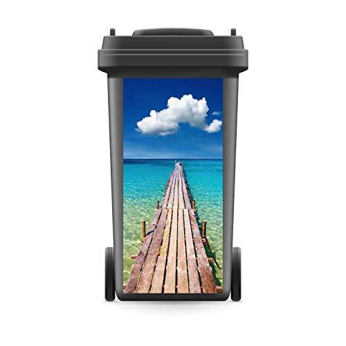 WERBEPUNKT. Mülltonnenaufkleber Mülltonne Mülleimer Abfalltonne Sticker Steg Meer Urlaub - 720 x 320 mm