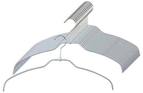 MAWA Kleiderbügel Light, 20 Stück, 50 % platzsparende und rutschfeste Hemdenbügel, Blusenbügel, 360° drehbar, hochwertige Antirutsch-Beschichtung, 42 cm, Silber