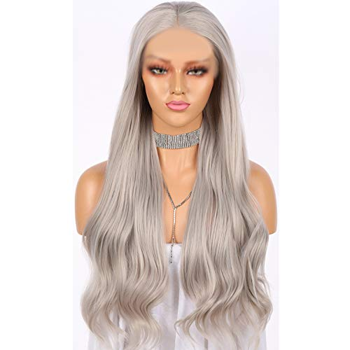 Long Wavy Light Ash Platinum Grey Lace Front Wigs for Women Silver 22 Inches Glueless Lace Front Light Dirty Gray Synthetic Wig Heat Resistant Wavy Ash Long Silver Wig