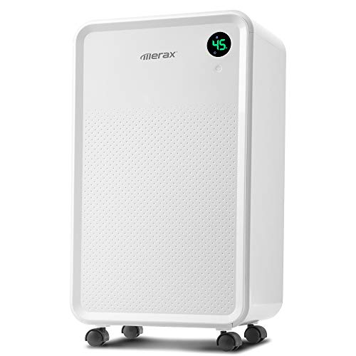 Merax 30 Pint Compact Dehumidifier for 3,000 Sq. Ft Home, Basement Bathroom with 68oz (2000ml) Water Tank, Quiet & Auto Shut-Off Dehumidifier for Kitchen and Home Gym (2L)