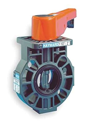 """Hayward BY Series PVC Butterfly Valve with Lever Handle, FPM Liner, 3"""" from Hayward"""