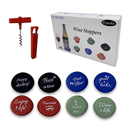 8 Tappo Bottiglie Vino Silicone con Apri Bottiglia EKOHOME Riutilizzabile Sigillanti per Tappi per Vino, Risparmio di Vino per Bottiglia di Vino e Birra, 8 Confezioni Accessorio Regalo Vino