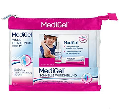 MediGel Wundversorgungsset – Inklusive Wundreinigungsspray, Wundgel & Pflastermäppchen – Für alle Wunden im Alltag