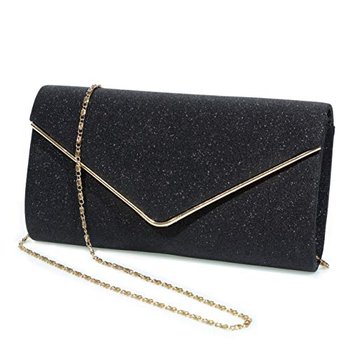 Evening Bag Clutch Purses for Women,Mansherry Ladies Sparkling Party Handbag Wedding Bag Purse Black