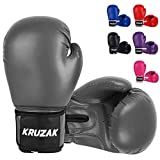 Kruzak Plain Boxing Gloves for Sparring, Kickboxing, Muay Thai, Martial Arts & MMA Fighting - Men & Women Punch Bag Mitts Training and Focus Pads Punching (Gray, 16 oz)