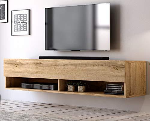 TV Unterteil TV Lowboard Epsom in Wotan Eiche hängend Fernsehschrank 140 x 30 cm