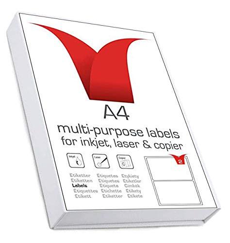 Multi-Purpose A4 White Self-Adhesive Labels - Die Cut 199.6 x 143.5mm - 2...