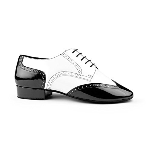 PortDance Herren Tanzschuhe PD042 - Leder Weiß/Lack Schwarz - 2 cm Standard [EUR 45]