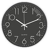 JanPraci Stille Wanduhr 30,5 cm batteriebetrieben rund moderne dekorative Uhr für Küche Büro Schlafzimmer Wohnzimmer (grau-weiß)