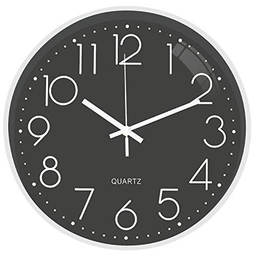 TOPPTIK Reloj de Pared – Reloj Digital Moderno de 30cm, silencioso, Funciona con Pilas, Reloj de Pared Redondo, fácil de Leer, Decorativo para Sala de Estar, Cocina, Oficina, Aula…(Gris y Blanco)