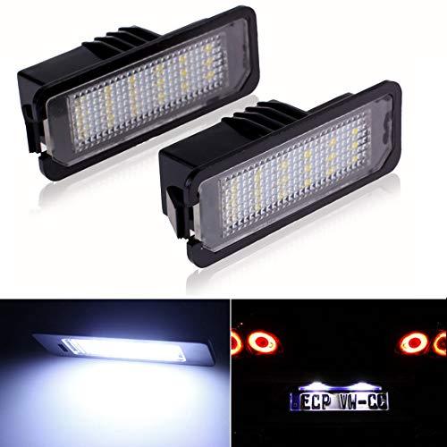 DONGMAO Luces de matrícula Luz de la Placa de la Licencia de 2Pcs LED para V/W New Beetle CC EOS Golf Passat Phaeton P/orsche Boxster Cayman Carrera Turbo 997 GT3 Cayenne