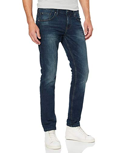 TOM TAILOR Denim Herren Slim Piers Jeans, Blau (Dark Stone Wash Deni 10282), 34W / 32L