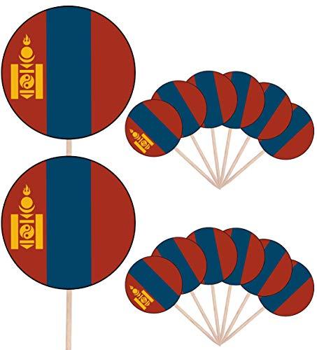 Mongolië Vlag Partij Voedsel Cake Cupcakes Picks Sticks Vlaggen Opstaan Decoraties Toppers (Pak van 14)