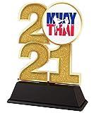Trophy Monster Trofeo Muay Thai Kick Boxing 2021 de 85 mm de oro, plata o bronce, hecho de acrílico impreso, elegir entre 4 tamaños