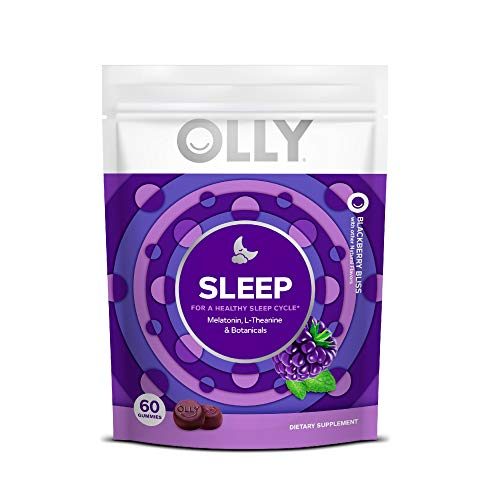 Olly Melatonin Gummy All Natural Flavor and Colors with L Theanine Chamomile and Lemon Balm 3 mg per serving 30 Day Supply gummies, Sleep, 60 Count