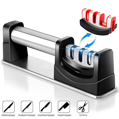 Bingobang Messerschärfer Profi 3 Stufen Messerschleifer,mit rutschfeste Base und Edelstahl Knife Sharpener Hilft Reparatur Aller Größen Profi-Messer und Schere(Enthält 2 Messerschärfer Kopf)