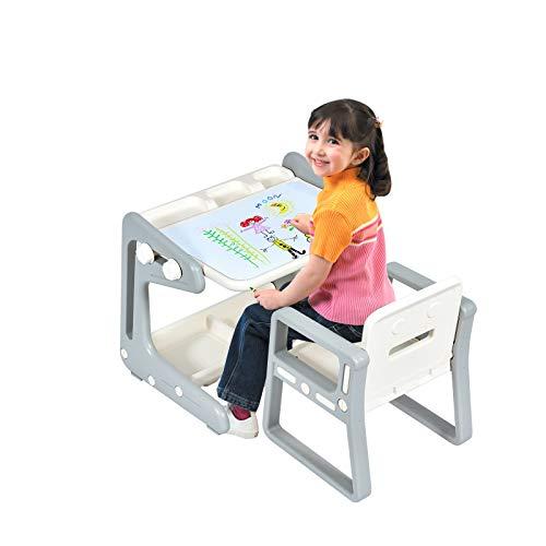 COSTWAY Mesa para Niños con Silla Pizarra Magnética Escritorio con Tablero Altura Ajustable Juego de Mueble con Espacio de Almacenamiento para niños de 3 a 12 años