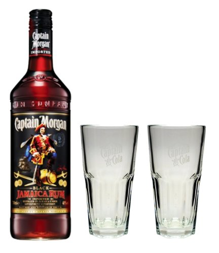 Captain Morgan Black Label Rum 40% 0,7l Set + 2 Longdrinkgläser
