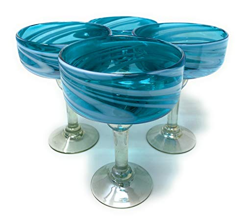 Mexican Hand Blown Glass – Set of 4 Hand Blown Margarita Glasses Aqua Swirl 16 oz