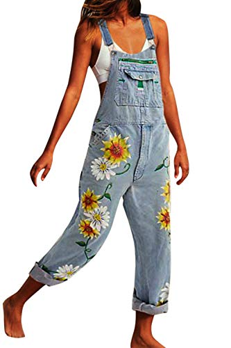 Zilcremo Petos Vaqueros Monos para Mujer Jumpsuits Denim Overalls Pantalones Rectos Pantalones Largos Pantalones de Tirantes Pantalones de Talla Grande con Bolsillo Babero Azul Claro 4XL
