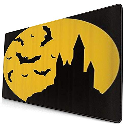 LASINSU Alfombrilla Gaming,Halloween Castillo Murciélago Terror Diablo Noche Negro Amarillo,con Base de Goma Antideslizante,750×400×3mm