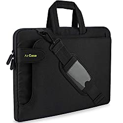 AirCase Laptop Bag Sleeve Messenger Bag for 13-Inch/ 14-Inch Laptop MacBook | Strap, Pocket (Black),AirCase,C17