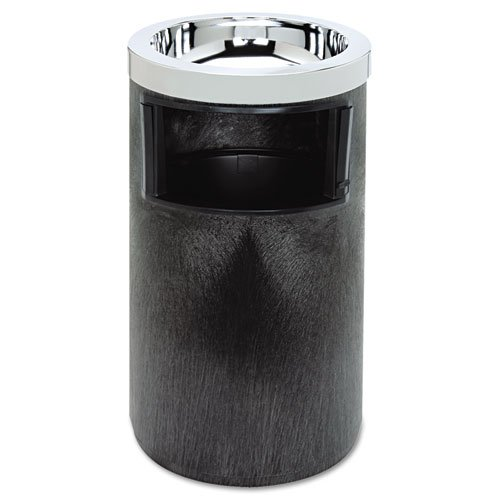 Rubbermaid Commercial 258600BLA Smoking Urn w/Ashtray and Metal Liner, 19.5H x 12.5 Dia, Black