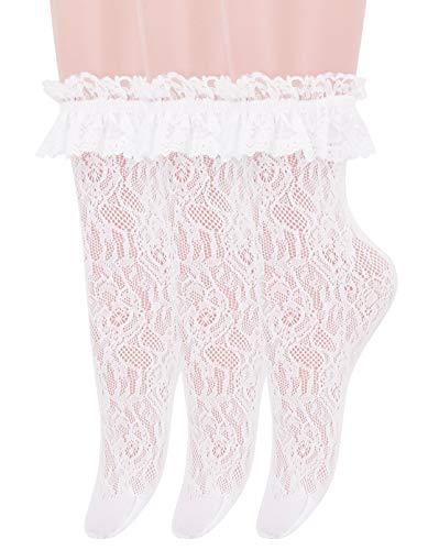 SEMOHOLLI Women Ankle Socks,Women Lace Ruffle Frilly Ankle Socks Fashion Ladies Girl Princess Socks (3 Pairs-white)
