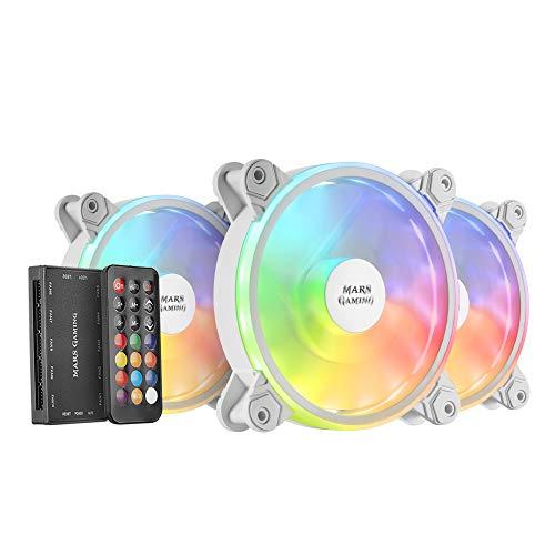 MARSGAMING MFXKITW, Kit 3 Ventiladores ARGB MFX+Mando RF, Ultra-silencioso, Blanco