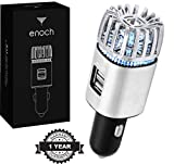 Enoch Car Air Purifier with USB Car Charger 2-Port. Car Air Freshener Eliminate Odor, Dust, Pollen, Removes Cigarette Smoke, Pet Small and Food Odor, Ionic Ozone, Relieve Allergy. Color-Silver