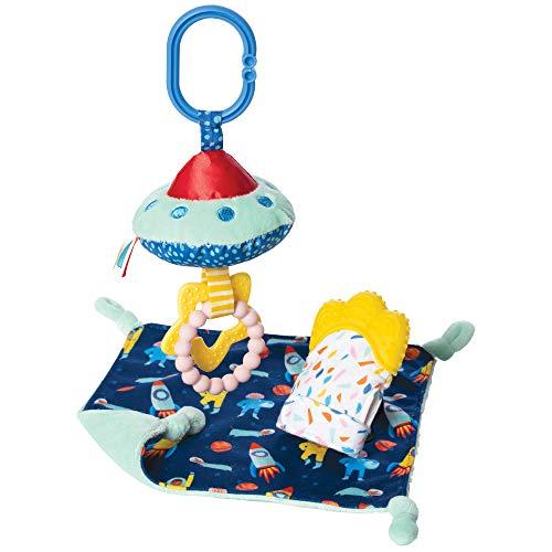 Manhattan Toy- Space-Coffret Cadeau thème avec Gant bébé Lovie, apaisant et Anneau de Dentition à Clipser et hochet, 218450, Multi