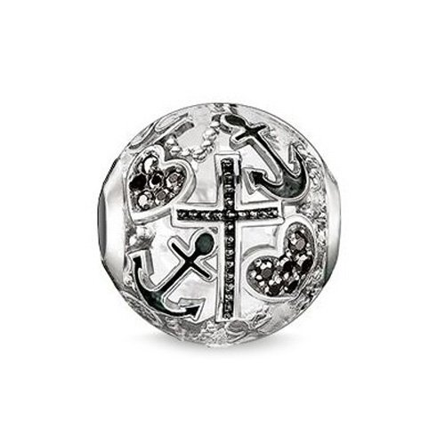 Thomas Sabo Damen-Bead Glaube, Liebe, Hoffnung Karma Beads 925 Sterling Silber geschwärzt Zirkonia schwarz K0138-643-11