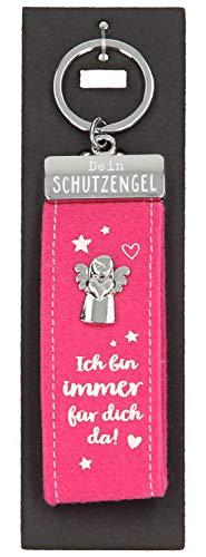 Depesche 10890.008 Schlüsselanhänger aus Filz, mit Schutzengel und Aufschrift, Ich Bin Immer für Dich da, rosa, ca. 15 cm