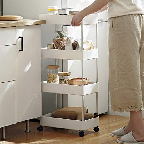 Kitchen bathroom floor storage rack white storage rack multi-layer bathroom rack bookshelf (Color : White, Size : 21.6X39.7X89CM)