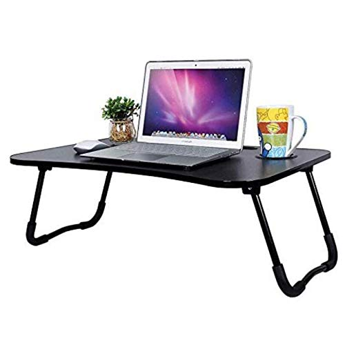 Laptop Stand, Bed Tray Table Foldable Laptop Desk with Tablet Holder Low Floor Table for Kids Adults Eating Breakfast Play Game Watch Read in Bedroom Living Room-Black