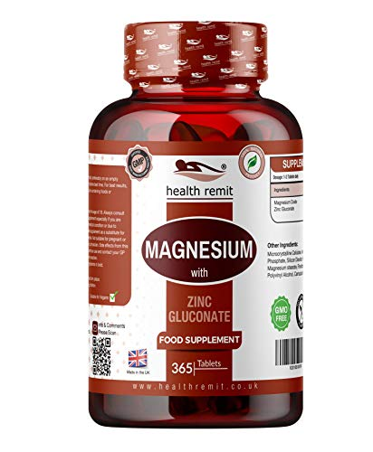 Health Remit's Magnesium and Zinc Complex – Mineral Complex Supplement – Organic, Non-GMO, Vegan - 365 Tablets per Bottle