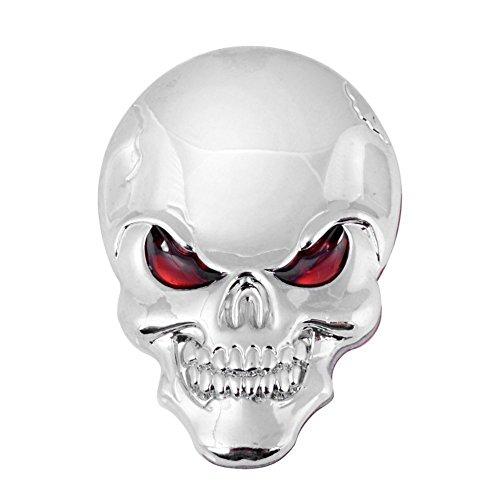 Chrome Skull Red Eyes Emblem Silver Metal Badge 3D Car Decal Sticker Sign Bumper