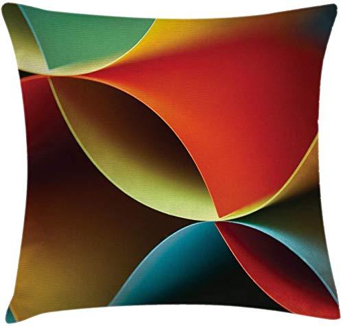 BONRI Funda de cojín para cojín Abstracto, diseño gráfico de Origami Curvo con Detalles de Colores Obra de Arte, Funda de Almohada Decorativa Cuadrada Decorativa, Naranja Blanco , (16'x16 / 40x40cm